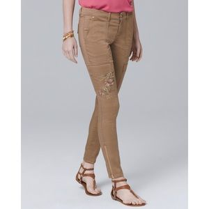 WHBM Embroidered Skinny Ankle Cargo Pants Tan 2